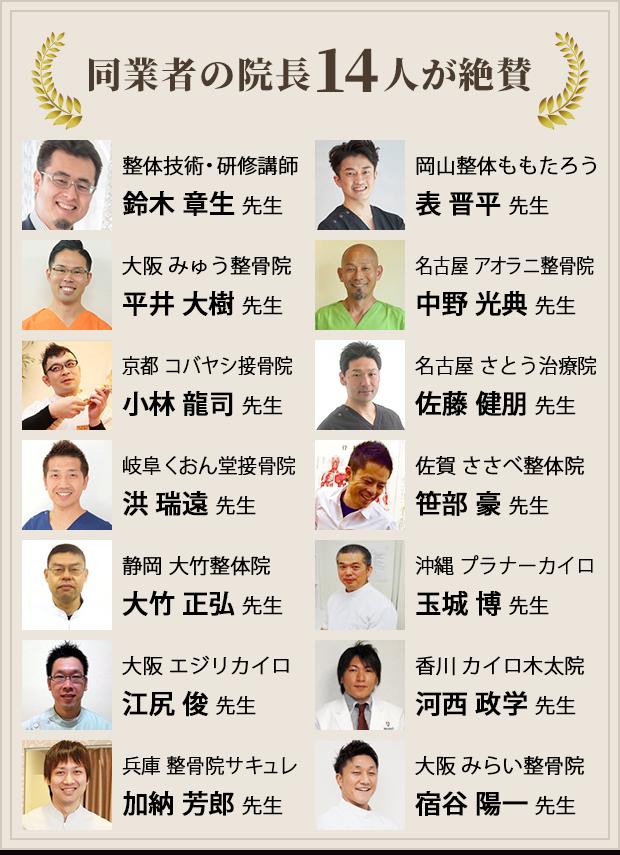 同業者の院長14人が絶賛